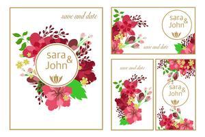 Cartão floral da bandeira do casamento da flor