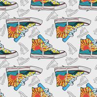 Padrão sem emenda de tênis de sapatos mão desenhada vetor