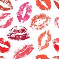 Beijos vetor sem costura padrão. padrão de impressão de lábios