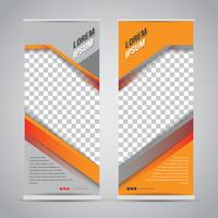 Modelo de Banner Roll Up preto laranja Mock Up