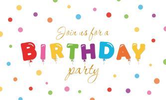 Fundo festivo de aniversário. Bandeira do convite do partido com letras e confetes coloridos balão.