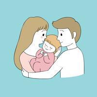 Os pais bonitos dos desenhos animados beijam o vetor do bebê.