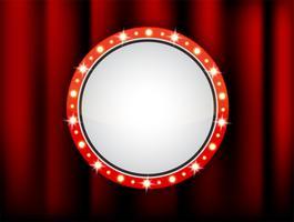 Quadro de círculo de vetor de caixas de luz retrô em um teatro vazio para inserir o seu texto.