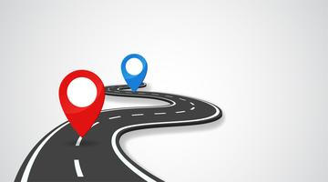 A estrada com o pino GPS indica o início e o final da viagem. vetor