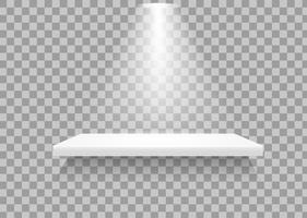 Prateleiras vazias Há uma luz que brilha para mostrar que o produto se destaca. vetor