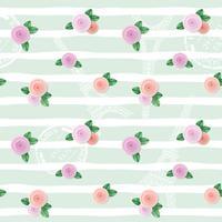 Teste padrão floral sem costura com a Torre Eiffel, selos e rosas na mão desenhada despojado de fundo. vetor