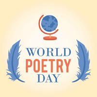 Fundo de ícone do mundo dia poesia logotipo - ilustração vetorial vetor