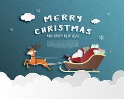 Feliz Natal e feliz ano novo cartão em papel cortado estilo. vetor