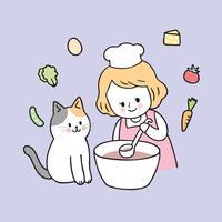 Menina bonito e gato dos desenhos animados que cozinham o vetor. vetor