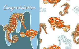 Mão desenhada seahorse fish sem costura vetor