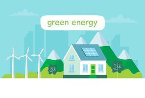 Ilustração de energia verde com uma casa, painéis solares, turbinas eólicas, lettering Ilustração de conceito para ecologia, energia verde, wind energy, sustentabilidade