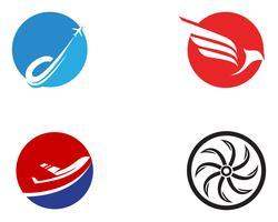 Logotipo de voar de avião e modelo de vetor de símbolos