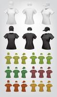 Modelo feminino simples de t-shirt e boné. vetor