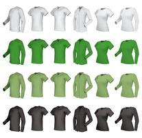 Polo, camisas e conjunto de camisetas. vetor