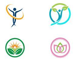 Logotipo de terapia de cuidados familiares de saúde e natureza de símbolos vetor