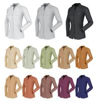 Modelo de camisa simples clássico feminino. Fundo isolado. vetor