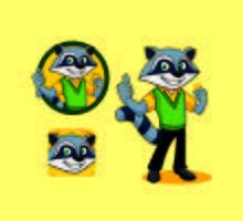 desenhos animados do mascote do caráter do guaxinim dos desenhos animados