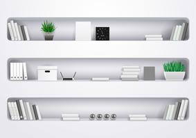 Prateleiras de escritório brancas ou sala de estar vetor