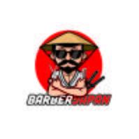 Barber Shop japan samurai Desenhos de logotipo de mascote de caractere vetor