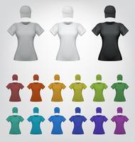 Modelo de camiseta e boné feminino simples vetor