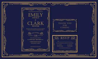 Marinho clássico do art deco do estilo do vintage da marinha / casamento marinhos do convite com cor do ouro com quadro. Inclua agradecer-lhe etiquetas e RSVP. Ilustração vetorial - vetor - vetor