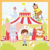 Ilustração em vetor Animal circo retrô bonito