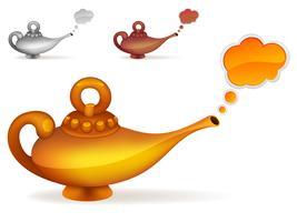 Lâmpada mágica de ouro com uma nuvem vetor