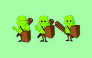desenhos de mascote de personagem de monstro bonito ogro vetor