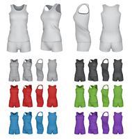 Esporte em branco top e calções modelo conjunto vetor
