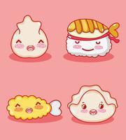 Desenhos animados bonitos do kawaii da gastronomia japonesa