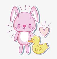 Cartão bonito dos desenhos animados do coelho