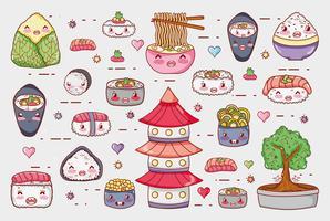 Sushi e rolos bonitos desenhos animados de kawaii