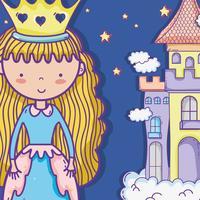Pequena princesa fofo mão desenho cartoon vetor