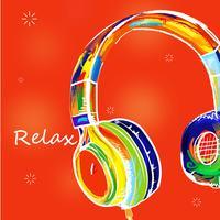 Fone de ouvido colorido desenhado vetor
