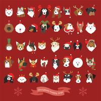 Um conjunto de muitas caras do cão que vestem trajes do Natal.