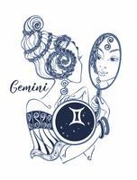 Gêmeos do sinal do zodíaco uma menina bonita. Horóscopo. Astrologia. Vetor.