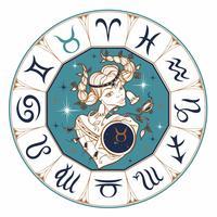 O signo de zodíaco como uma menina bonita. Horóscopo. Astrologia. Vencedor.