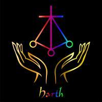 Karuna Reiki. Cura energética. Medicina alternativa. Símbolo Harth. Prática espiritual. Esotérico. Palma aberta. Cor do arco-íris. Vetor