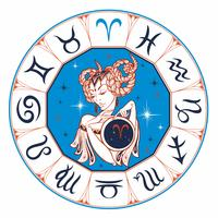 Áries do sinal do zodíaco como uma menina bonita. Horóscopo. Astrologia. Vencedor. vetor