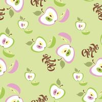 Padrão sem emenda Fundo de maçã. Lettering Fruta. Ilustração vetorial