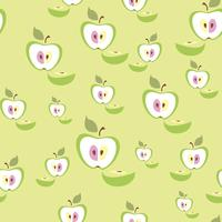 Padrão sem emenda Fundo de maçã. Fruta. Ilustração vetorial