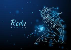 A energia Reiki. A garota com o fluxo de energia. Meditação. Medicina alternativa. Esotérico. Vetor