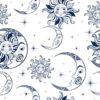 Padrão sem emenda Sol lua e estrelas. Fundo do espaço. Céu noturno. Um cenário mágico de fadas. Vetor