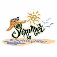 Verão. Lettering Cumprimento. Sol, gaivotas. Chapéu de sol e óculos de sol. Conceito de design para o turismo. Vetor.