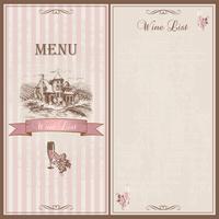 Menu de vinhos. Lista de vinhos. Modelo de design para restaurantes. Esboço do castelo com campos de uva. Uvas e um copo de vinho. Elegante design vintage. Vetor.