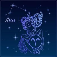 Áries do sinal do zodíaco como uma menina bonita. A constelação de Áries. Céu noturno. Horóscopo. Astrologia. Vetor. vetor