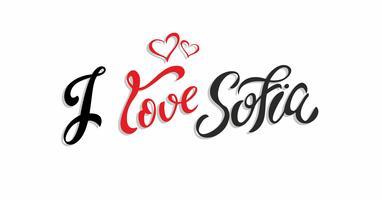 Eu amo a Sofia Bulgária. Lettering Cartão de turista. Industria do turismo. Coração. Vetor.