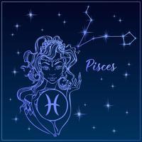 Peixes do sinal do zodíaco como uma menina bonita. A constelação de peixes. Céu noturno. Horóscopo. Astrologia. Vetor.