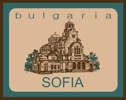 Viagem. Bulgária. Sófia. Esboço. A Catedral de Santo Alexandre Nevsky. Industria do turismo. Período de férias. Vetor. vetor
