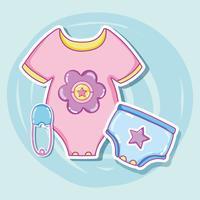 Desenhos de roupas de bebê fofo vetor